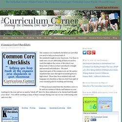 Common Core State Standards Checklists for the Classroom