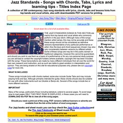 Jazz Song Standards Collection, 390 songs with Chords, Tabs, Lyrics, Lessons Tips - titles index page