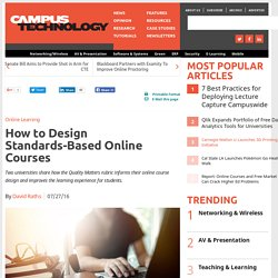 QM How to Design Standards-Based Online Courses
