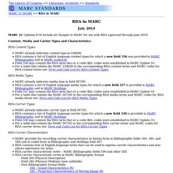 RDA in MARC - October 2012: MARC Standards (Network Development and MARC Standards Office, Library of Congress)