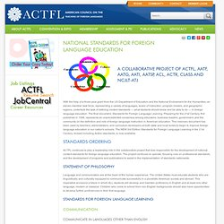 National Standards for Foreign Language Education - American Council on the Teaching of Foreign Languages