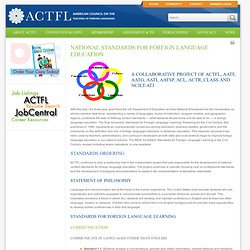 National Standards for Foreign Language Education | American Council on The Teaching of Foreign Languages