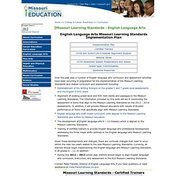 Common Core State Standards - English Language Arts