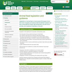 FSA 10/01/11 Animal feed legislation and guidance