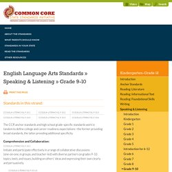Speaking & Listening » Grade 9-10