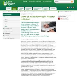 FSA 21/04/11 Views on nanotechnology: research published