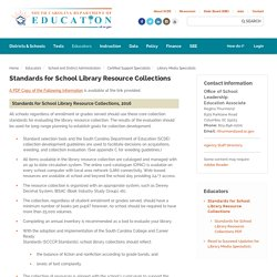 Standards for School Library Resource Collections