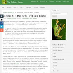 Common Core Standards: Writing in Science
