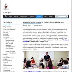 Stanford Language Centre's Thai Course In Singapore - Submit Free Article