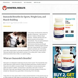 Stanozolol Benefits for Sports, Weight Loss, and Muscle Building