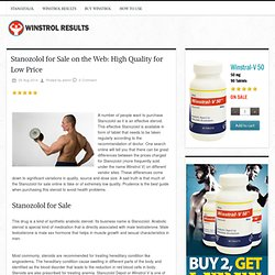 Stanozolol for Sale on the Web: High Quality for Low Price