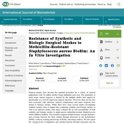 Resistance of Synthetic and Biologic Surgical Meshes to Methicillin-Resistant Staphylococcus aureus Biofilm: An In Vitro Investigation