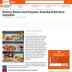 Pantry Basics and Staples - Standard Kitchen Supplies