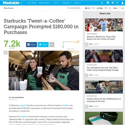Starbucks 'Tweet-a-Coffee' Campaign Prompted $180,000 in Purchases