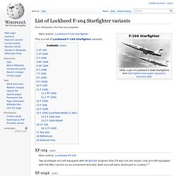 List of Lockheed F-104 Starfighter variants