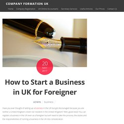 How to Start a Business in UK for Foreigner what you need to know