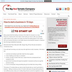 How to start a business in 10 days - Big Red Tomato Company
