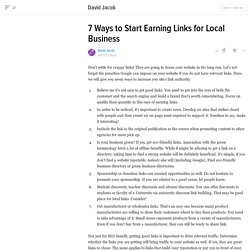 7 Ways to Start Earning Links for Local Business