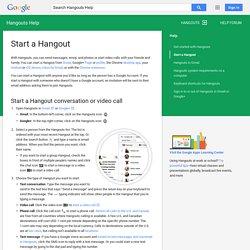 Start a Hangout - Hangouts Help