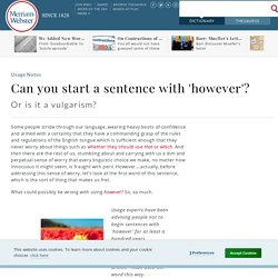 Can You Start A Sentence With 'however'?