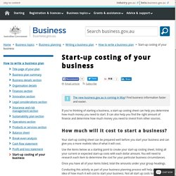 Start-up costing of your business