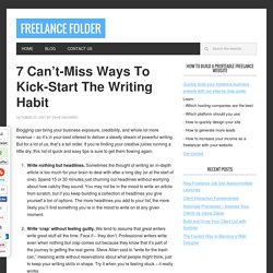 How to kick-start the writing habit