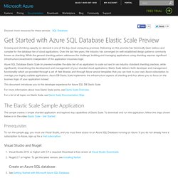 Get Started with Azure SQL Database Elastic Scale