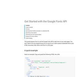 Get Started with the Google Fonts API