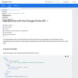 Getting Started - Google Fonts