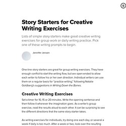 Story Starters for Creative Writing Exercises: One-Line Writing Prompts for Group or Individual Writing Practice | Suite101.com
