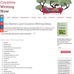 Poem Starters and Creative Writing Ideas - StumbleUpon