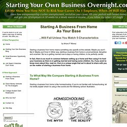 Starting A Business From Home Base
