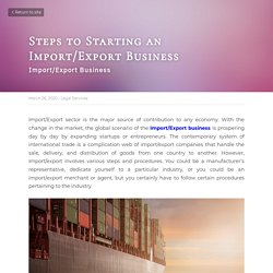 Steps to Starting an Import/Export Business - Legal Services