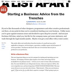 A List Apart: Articles: Starting a Business: Advice from the Trenches