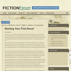 Starting Your First Novel | Fiction Forum