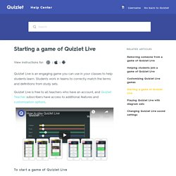 Starting a game of Quizlet Live – Quizlet Help Center