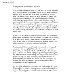 Starting a new Medical Marijuana Dispensary — Write-A-Blog