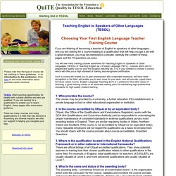 Starting Out in TESOL