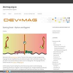 Starting Small – Python and Pygame