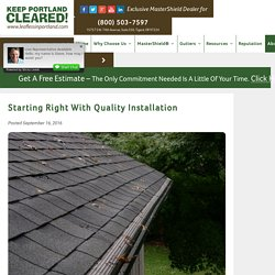 Starting Right with Quality Installation