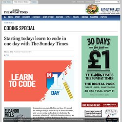 Starting today: learn to code in one day with The Sunday Times
