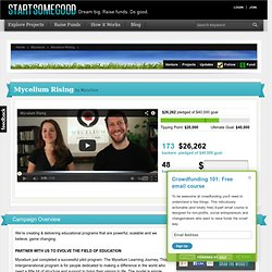 Mycelium Rising on StartSomeGood, a crowdfunding platform for non-profits, social entrepreneurs and changemakers