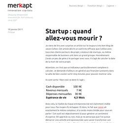 Startup : quand allez-vous mourir ?