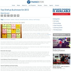 Top Startup Businesses for 2012 | The Business Finance Store