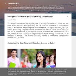 Startup Financial Models - Financial Modeling Course In Delhi