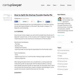 Startup Founder Equity Split