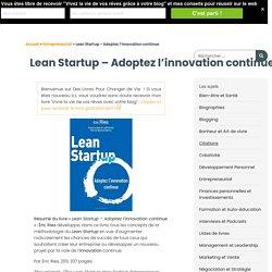 L'innovation continue - Des livres pour changer de vie