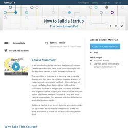 How To Build A Startup: The Lean Launchpad