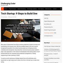 Tech Startup: 9 Steps to Build One - Challenging Coder
