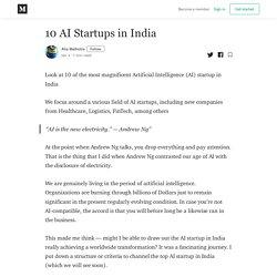 10 AI Startups in India - Alia Malhotra - Medium